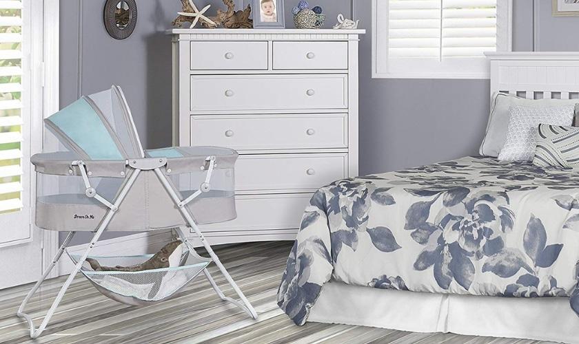 bedside bassinet in the bedroom